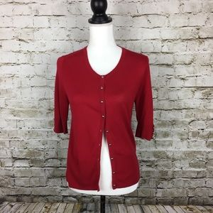 White House Black Market red cardigan sweater